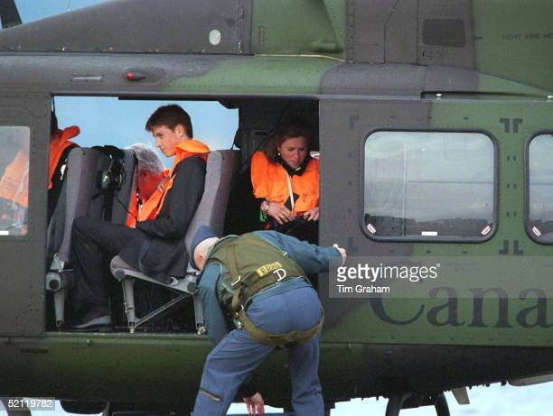 Prince William And Tiggy Leggebourke On Board The Helicopter For Their Departure From Vancouver Canada