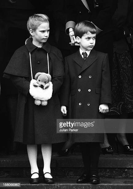 Prince William, And Zara Phillips, Attend Sandringham Church Christmas Day Service, 1988.