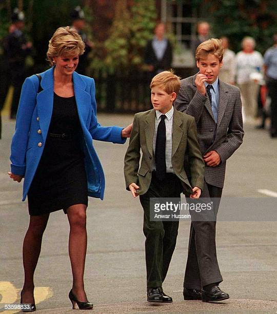 Prince William arrives with Diana Princess of Wales and Prince Harry for his first day at Eton College on September 16 1995 in Windsor England