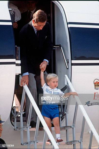 Prince William Arriving With Prince Charles At Aberdeen Airport For His Holiday At Balmoral Castle In Scotland
