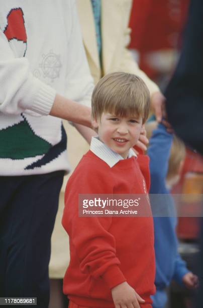 Prince William at the Guards Polo Club in Windsor UK May 1987 Holding his hand is his nanny Ruth Wallace