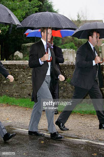 Prince William at the wedding of his stepbrother Tom ParkerBowles to Sara Buys Their marriage ceremony was held at St Nicholas Church at Rotherfield...