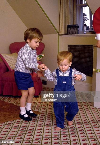 Prince William Attempting To Give His Baby Brother Prince Harry A Helping Hand As He Takes His First Steps At His Home Kensington Palace