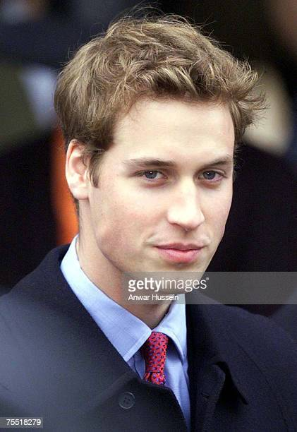 Prince William attending a Christmas Day service at St Mary's church on the Sandringham Estate Norfolk on December 25 2002 during the Anwar Hussein...