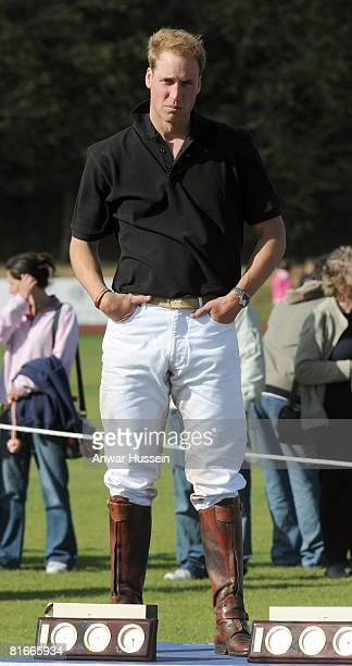 Prince William attends a charity polo match at the the Beaufort Polo Cub on June 22 2008 in Tetbury England