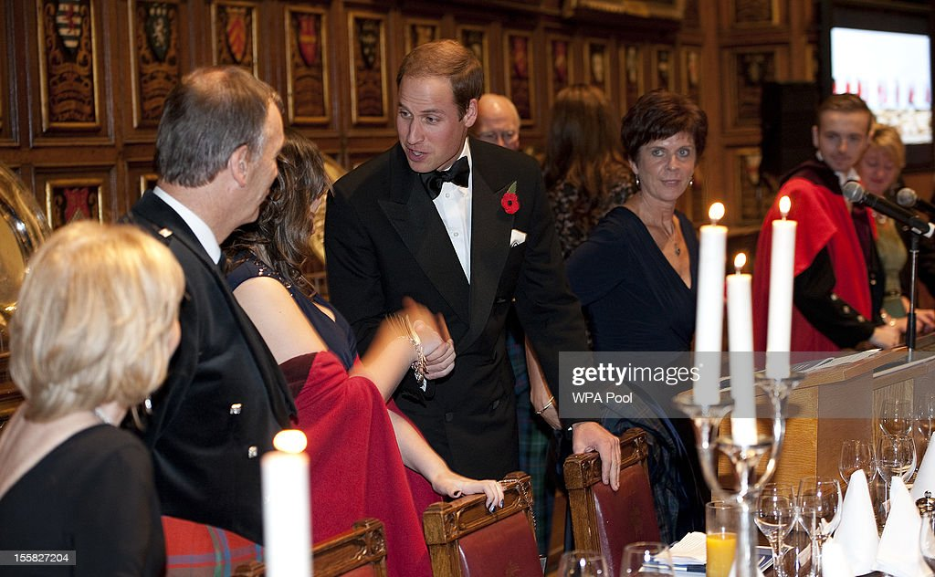 Prince William attends a Reception and Dinner in aid of the University of St. Andrews 600th Anniversary Appeal at Middle Temple Hall on November 8, 2012 in London, England. Their Royal Highnesses will meet a selection of current students, staff and alumni of the university during a reception before dinner.