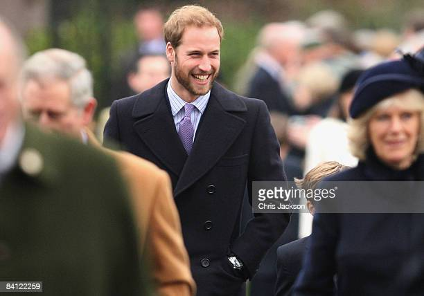 HRH Prince William attends the Christmas Day Church Service at St Mary's Church on December 25 2008 in Sandringham England