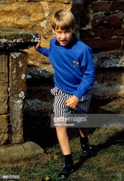 Prince William attends the rehearsal for the wedding of Charles Viscount Althorp on November 30 1987 in Great Brington England