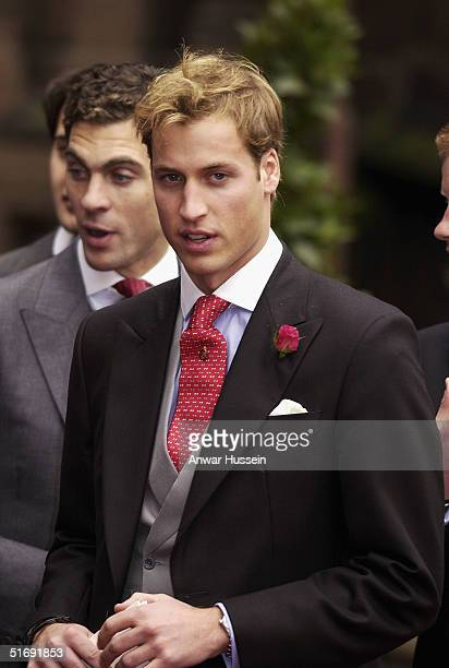 Prince William attends the wedding of Ed Van Cutsem and Lady Tamara Grosvenor at Chester Cathedral on November 6 2004 in Chester England Lady Tamara...