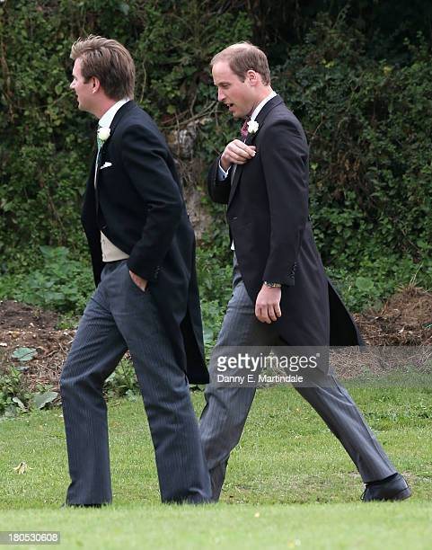 Prince William attends the wedding of James Meade and Lady Laura Marsham at The Parish Church of St Nicholas in Gaytonon September 14 2013 in King's...