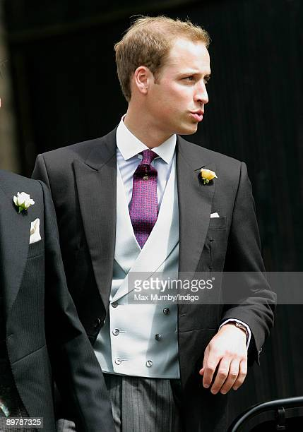Prince William attends the wedding of Nicholas van Cutsem and Alice Hadden-Paton at The Guards Chapel, Wellington Barracks on August 14, 2009 in...