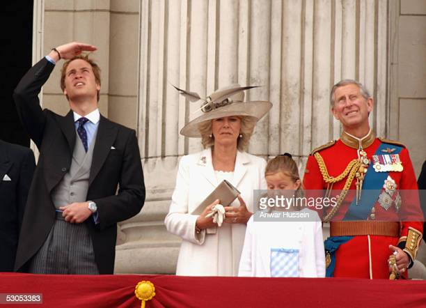 Prince William Camilla Duchess of Cornwall and Prince Charels Prince of Wales watch trooping of The Queen's Colour of First Battalion Grenadier...