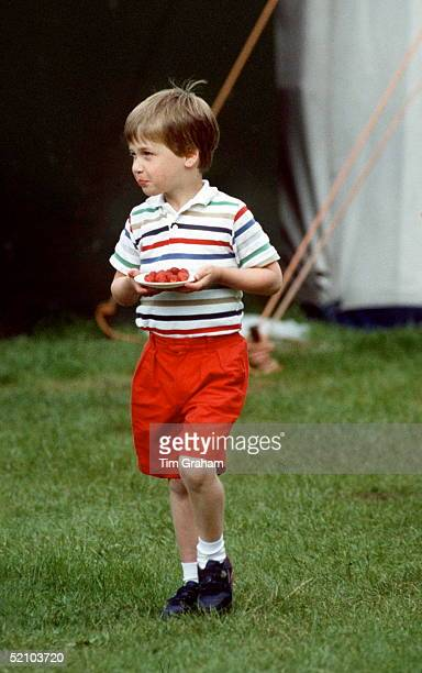 Prince William Carrying A Plate Of Strawberries At Polo