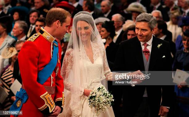 Prince William Catherine Middleton and Michael Middleton at the Royal Wedding of Prince William and Catherine Middleton at Westminster Abbey on April...