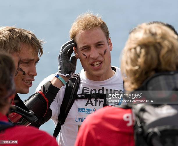 Prince William chats to fellow competitors as he prepares to set off at the start of the Enduro 2008 Motorcycle Rally to benefit UNICEF the Nelson...