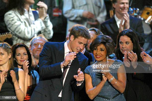 Prince William chats to Shirley Bassey at the pop concert at Buckingham Palace to celebrate the Golden Jubilee on June 3 2002