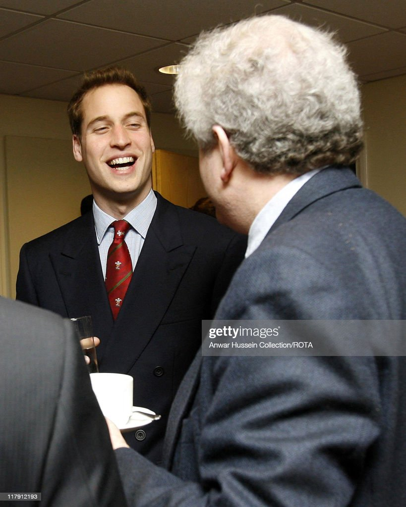 Prince William chats to Wales First Minister Rhodri Morgan at the Millennium Stadium Cardiff on February 4 2007 Prince William officially took up his...