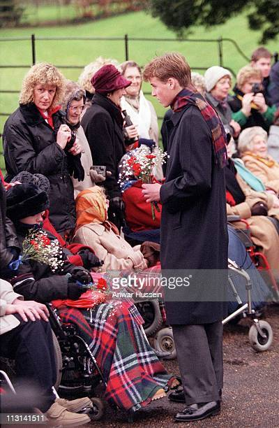 Prince William chats to wellwishers outside Sandringham church on Christmas day December 25 1998 in Sandringham England