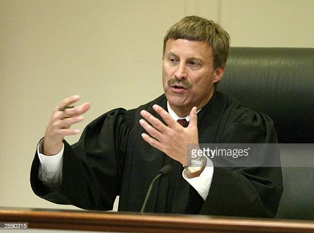 Prince William Circuit Court Judge LeRoy F. Millette Jr., presides over the John Allen Muhammad trial at the Virginia Beach Circuit Court October 14,...