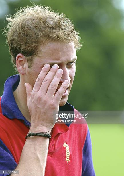 Prince William competes in the Burberry Cup at Cirencester Park Polo Club on June 17 2005 in Gloucestershire England