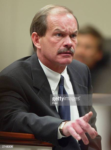 Prince William County Assistant Commonwealth Attorney James A Willett gestures as he delivers his closing arguments during the penalty phase of the...