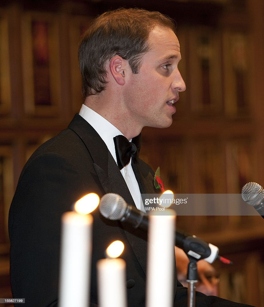 Prince William delivers a speech a Reception and Dinner in aid of the University of St. Andrews 600th Anniversary Appeal at Middle Temple Hall on November 8, 2012 in London, England. Their Royal Highnesses will meet a selection of current students, staff and alumni of the university during a reception before dinner.