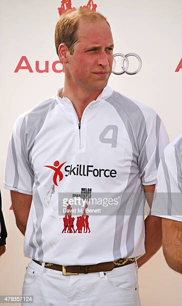 Prince William Duke of Cambrdige attends the Audi Polo Challenge 2015 at Cambridge County Polo Club on July 3 2015 in Cambridge England