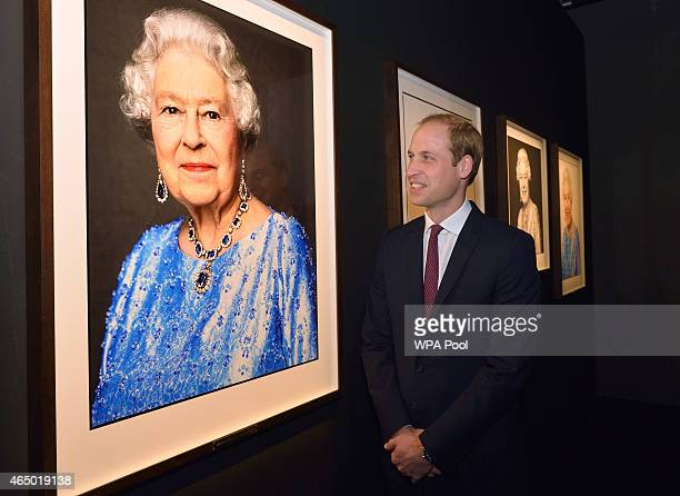 Prince William Duke of Cambridge admires the David Bailey Portrait of the Queen as he visits the GREAT British Festival of Creativity on March 3 2015...