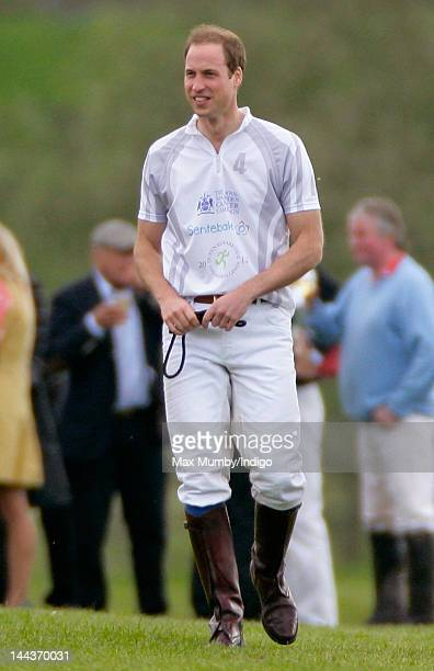 Prince William Duke of Cambridge after playing along with Prince Harry in the Audi Polo Challenge charity polo match at Coworth Park Polo Club on May...