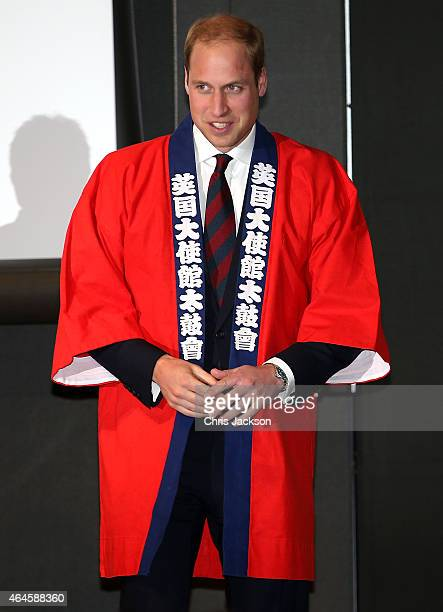 Prince William Duke of Cambridge after taking part in a Sake Barrell Breaking Ceremony at an 'Innovation is Great' Event at Roppongi Hills on...