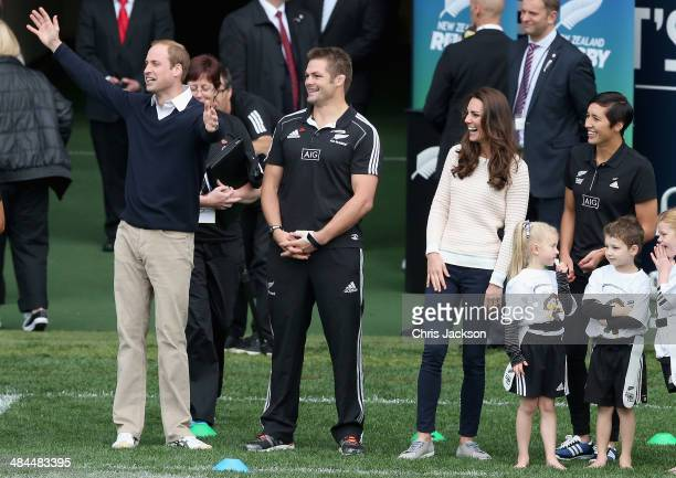 Prince William Duke of Cambridge All Blacks player Richie McCaw and Catherine Duchess of Cambridge watch 'Rippa Rugby' in the Forstyth Barr Stadium...
