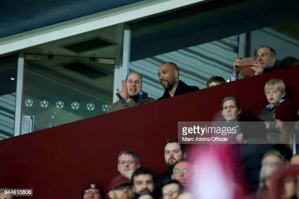 Prince William Duke of Cambridge alongside John Carew during the Sky Bet Championship match between Aston Villa and Cardiff City at Villa Park on...