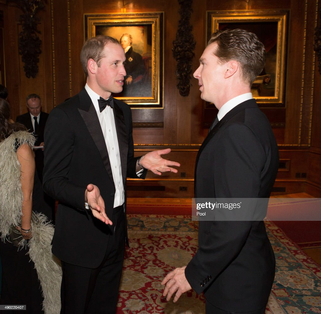 Prince William, Duke of Cambridge (L) and Benedict Cumberbatch attend a dinner to celebrate the work of The Royal Marsden hosted by the Duke of Cambridge on May 13, 2014 in Windsor, England.