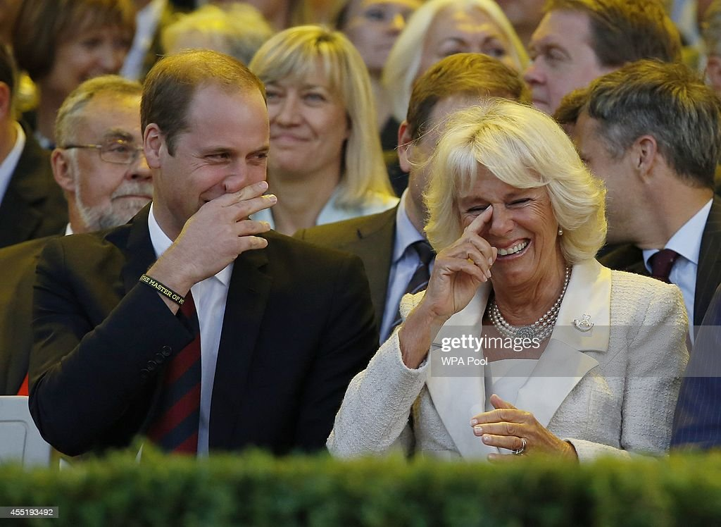 Prince William, Duke of Cambridge (L) and Camilla, Duchess of Cornwall, laugh during the opening ceremony of the Invictus Games at the Queen Elizabeth Park on September 10, 2014 in east London, England. The Invictus Games which will run from September 10-14, is an international sporting event for wounded servicemen and women from 13 countries.