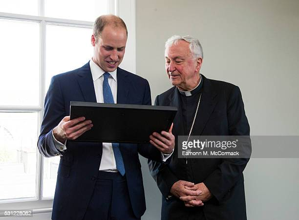 Prince William Duke of Cambridge and Cardinal Vincent Nichols during visit to The Passage an organisation which helps the homeless transform their...