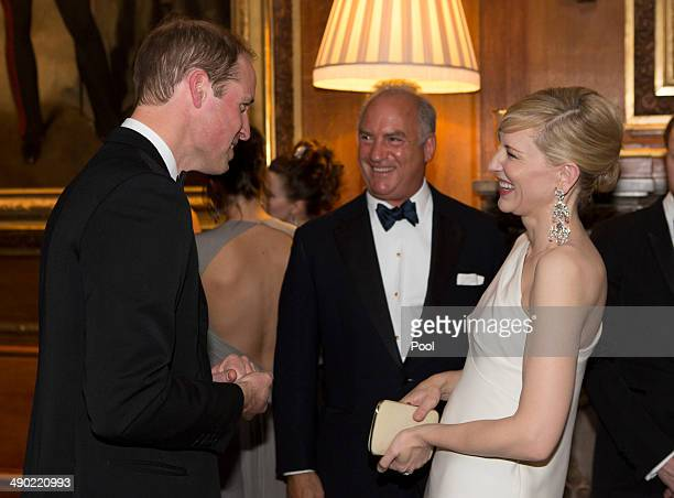 Prince William Duke of Cambridge and Cate Blanchett attend a dinner to celebrate the work of The Royal Marsden hosted by the Duke of Cambridge on May...