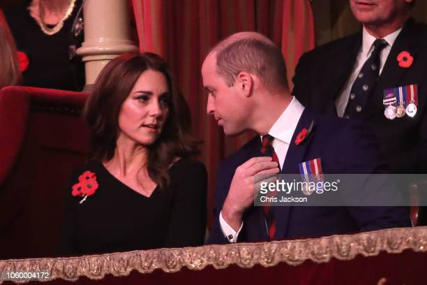 Prince William Duke of Cambridge and Catherine Duchess of Cambridge attend the Royal British Legion Festival of Remembrance at the Royal Albert Hall...