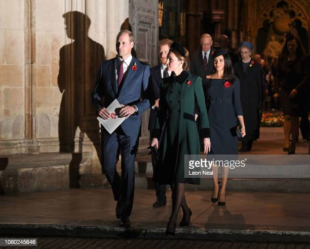 Prince William, Duke of Cambridge and Catherine, Duchess of Cambridge followed by Prince Harry, Duke of Sussex and Meghan, Duchess of Sussex leave...