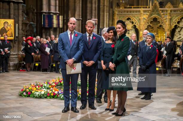 Prince William Duke of Cambridge and Catherine Duchess of Cambridge Prince Harry Duke of Sussex and Meghan Duchess of Sussex attend a service marking...