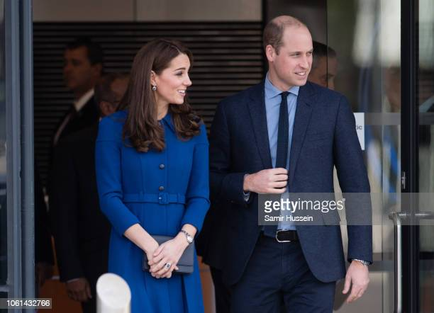 Prince William, Duke of Cambridge and Catherine, Duchess of Cambridge depart after officially open McLaren AutomotiveÕs new Composites Technology...