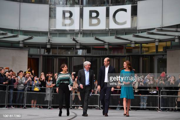 Prince William, Duke of Cambridge, and Catherine, Duchess of Cambridge, walk with Director-General of the BBC Tony Hall and Director of BBC...