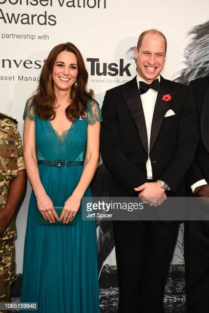 Prince William, Duke of Cambridge and Catherine, Duchess of Cambridge attend The Tusk Conservation Awards at Banqueting House on November 08, 2018 in...