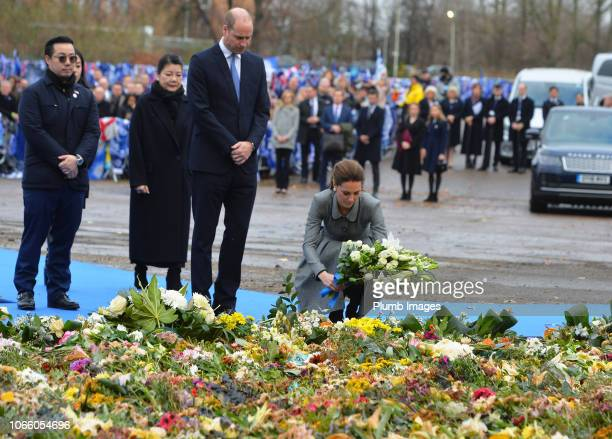 Prince William Duke of Cambridge and Catherine Duchess of Cambridge arrive at the memorial site to Leicester City Chairman Vichai Srivaddhanaprabha...