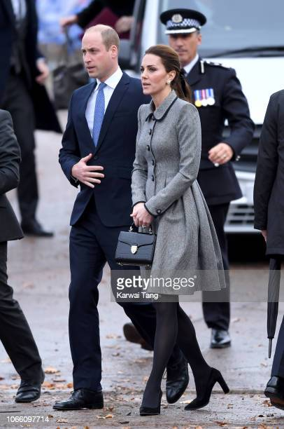 Prince William, Duke of Cambridge and Catherine, Duchess of Cambridge arrive at Leicester City Football Club to pay tribute to those who were...