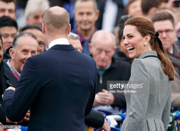 Prince William Duke of Cambridge and Catherine Duchess of Cambridge visit the tribute site adjacent to Leicester City Football Club's King Power...