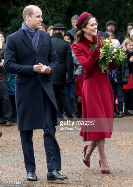 Prince William Duke of Cambridge and Catherine Duchess of Cambridge attend Christmas Day Church service at Church of St Mary Magdalene on the...
