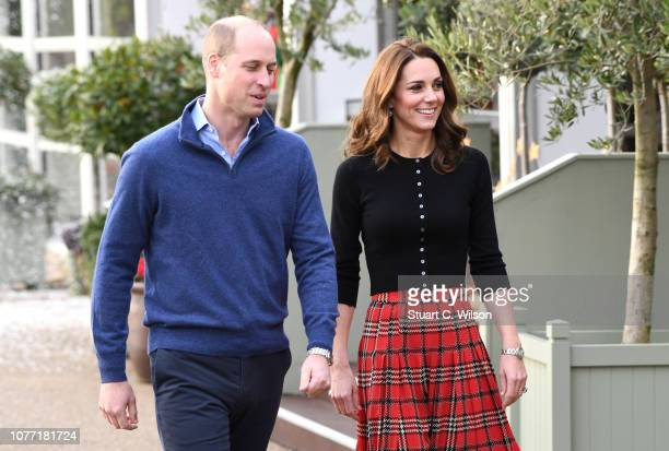 Prince William Duke of Cambridge and Catherine Duchess of Cambridge host a Christmas party to deliver a message of support to deployed personnel...