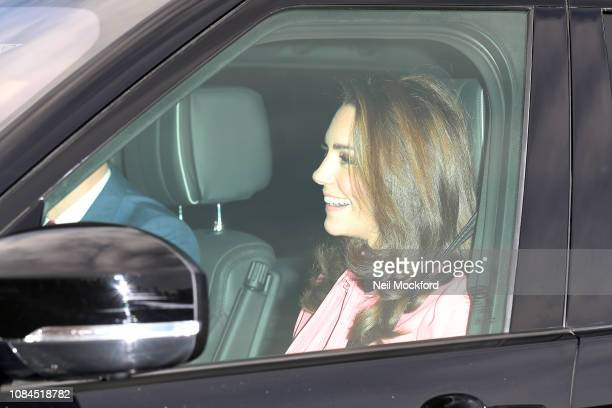 Prince William Duke of Cambridge and Catherine Duchess of Cambridge arrive at Buckingham Palace for Christmas Lunch on December 19 2018 in London...