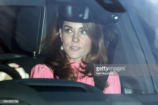 Prince William Duke of Cambridge and Catherine Duchess of Cambridge depart Buckingham Palace after the Queen's Christmas Lunch on December 19 2018 in...