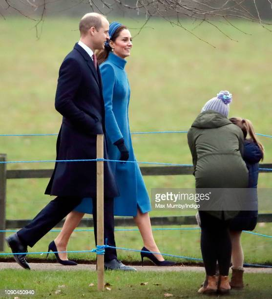 Prince William Duke of Cambridge and Catherine Duchess of Cambridge attend Sunday service at the Church of St Mary Magdalene on the Sandringham...
